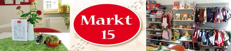 Markt 15: Tischdeko, Logo, Blick auf Regale mit Kleidung, Spielsachen etc. im integrierten Kinder-Secondhand-Laden; Quelle: (2) © Diakonie Emmendingen, (1+3) Norbert Gatz, (2) © Diakonie Emmendingen, (1+3) Norbert Gatz